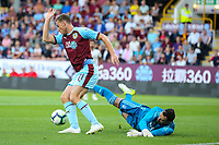 Burnley's Chris Wood rounds Aberdeen's Joe Lewis before opening the scoring<br /> <br /> Photographer Alex Dodd/CameraSport<br /> <br /> UEFA Europa League - Europa League Qualifying Round 2 2nd Leg - Burnley v Aberdeen - Thursday 2nd August 2018 - Turf Moor - Burnley<br />  <br /> World Copyright © 2018 CameraSport. All rights reserved. 43 Linden Ave. Countesthorpe. Leicester. England. LE8 5PG - Tel: +44 (0) 116 277 4147 - admin@camerasport.com - www.camerasport.com