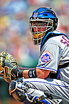 7 June 2009: New York Mets' catcher Brian Schneider in action during a game against the Washington Nationals at Nationals Park in Washington, DC. The Mets shut out the Nationals 7-0 to take the third game of the weekend series. Mandatory Credit: Ed Wolfstein Photo