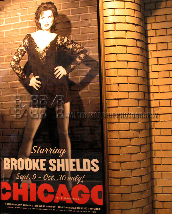 Brooke Shields returns to Broadway for a brief engagement in CHICAGO at the Ambassador Theatre in New York City..( Billboard Promotion Poster in Shubert Alley ).September 13, 2005.© Walter McBride /  .