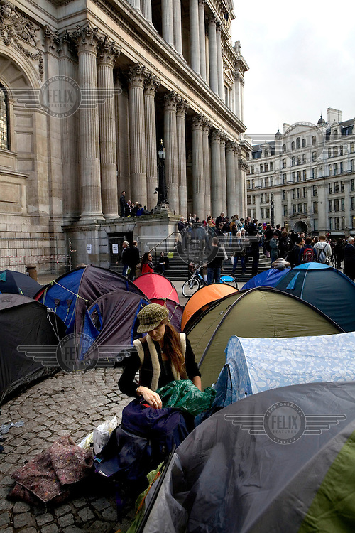 Occupy London protestor's tents outside St Paul's Cathedral in the City of London at the point that catherdral authorities announced they would not pursue their evection. The protests is part of a worldwide movement against the banking industry and the prevailing economic system..