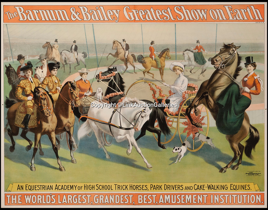 """BNPS.co.uk (01202 558833)<br /> Pic: LunkAuctionGalleries/BNPS<br /> <br /> ***Please Use Full Byline***<br /> <br /> The Barnum and Bailey Greatest Show on Earth.<br /> <br /> A collection of rare 125-year-old posters advertising a world-renowned circus billed as """"the greatest show on earth"""" have emerged for sale for £20,000.<br /> <br /> The stunning posters publicised the famed Barnum and Bailey travelling circus which wowed crowds all over the globe in the late 1800s and early 1900s.<br /> <br /> The five rare posters have been put up for sale by American businessman Sanford Rich, who had previously displayed them on the walls of his renowned delicatessen Kopperman's, an institution in St Louis, Missouri.<br /> <br /> Experts have tipped the posters to fetch $30,000 - around £20,000 - when they go under the hammer at Link Auctions in St Louis on November 14."""