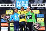 Race leader Yellow Jersey Egan Bernal (COL) Team Sky wins the 77th edition of Paris-Nice 2019 with Nairo Quintana (COL) Movistar Team in 2nd and Michal Kwiatkowski (POL) Team Sky in 3rd place at the end of Stage 8 running 110km from Nice to Nice, France. 16th March 2019<br /> Picture: ASO/Alex Broadway | Cyclefile<br /> All photos usage must carry mandatory copyright credit (&copy; Cyclefile | ASO/Alex Broadway)
