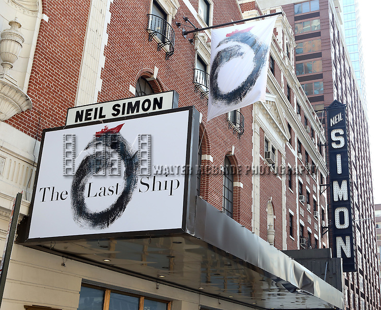 'The Last Ship' Theatre Marquee unveiling. The musical has an original score by 16-time Grammy Award winner Sting with direction by Tony Award winner Joe Mantello and a book by Tony Award winner John Logan and Pulitzer Prize winner Brian Yorkey at the Neil Simon Theatre on July 11, 2014 in New York City.