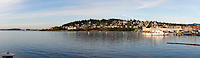Panoramic image of old Fairhaven district and Bellinham Bay, Bellingham, Washington state, USA