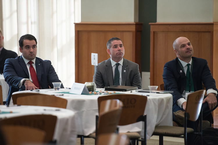 Doug Dawson, center, Vice President of Ticket Sales & Service at Dallas Cowboys, attends the Darren Butler Sports Forum in Walter Rotunda on Friday, October 14, 2016.