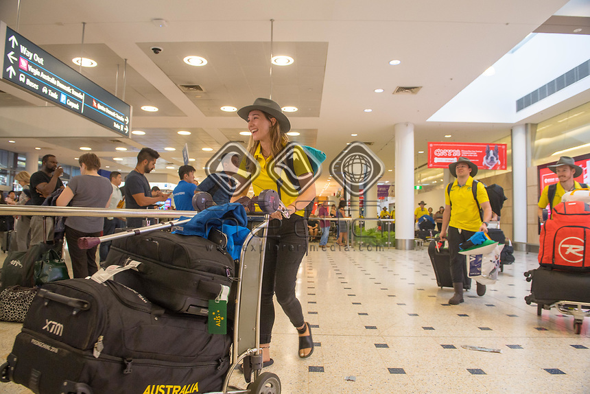 Welcome home - Sydney airport / Joany Badenhorst<br /> PyeongChang 2018 Paralympic Games<br /> Australian Paralympic Committee<br /> Sydney International Airport<br /> PyeongChang South Korea<br /> Tuesday March 20th 2018<br /> &copy; Sport the library / Jeff Crow