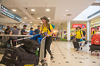 Welcome home - Sydney airport / Joany Badenhorst<br /> PyeongChang 2018 Paralympic Games<br /> Australian Paralympic Committee<br /> Sydney International Airport<br /> PyeongChang South Korea<br /> Tuesday March 20th 2018<br /> © Sport the library / Jeff Crow