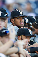 Vanderbilt Commodores outfielder Liam Sabino (11) watches the action during the NCAA College baseball World Series against the TCU Horned Frogs on June 16, 2015 at TD Ameritrade Park in Omaha, Nebraska. Vanderbilt defeated TCU 1-0. (Andrew Woolley/Four Seam Images)