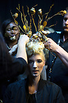 JOHANNESBURG, SOUTH AFRICA - MARCH 10: A model gets her hair done backstage before a show at Johannesburg Fashion Week week on March 10, 2016, at Nelson Mandela Square Johannesburg, South Africa. (Photo by: Per-Anders Pettersson)