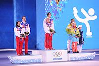 OLYMPICS: SOCHI: Medal Plaza, 13-02-2014, Figure Skating, Pairs, Ksenia Stolbova and Fedor Klimov (RUS), Tatiana Volosozhar and Maxim Trankov (RUS), Aliona Savchenko and Robin Szolkowy (GER), ©photo Martin de Jong