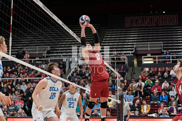 STANFORD, CA - FEBRUARY 11: Stanford, CA February 8, 2020. The Stanford Cardinal Men's volleyball team vs UCLA Bruins at Maples Pavilion.  Stanford Cardinal defeats UCLA Bruins 3-0 during a game between UCLA and Stanford Volleyball M at Maples Pavilion on February 11, 2020 in Stanford, California.