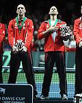 TENIS, BEOGRAD, 05. Dec. 2010. - Novak Djokovic i Viktor Troicki. Teniseri Srbije pobednici su Davis cupa za 2010. godinu. Finale Davis cup-a izmedju selekcija Srbije i Francuske koje se igra od 3-5 decembra u beogradskoj Areni. Davis cup final Serbia vs France. Foto: Nenad Negovanovic