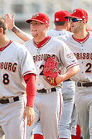 April 11, 2010:  Pitcher Drew Storen (21) of the Harrisburg Senators after a game at Blair County Ballpark in Altoona, PA.  Aaron Thompson follows Storen.  Harrisburg is the Double-A affiliate of the Washington Nationals.  Photo By Mike Janes/Four Seam Images