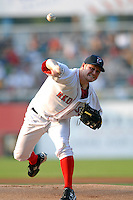 Pawtucket Red Sox starting pitcher Alex Wilson (#30)delivers a pitch during a game versus the Rochester Red Wings on September 4, 2011 at McCoy Stadium in Pawtucket Rhode Island. Ken Babbitt/Four Seam Images