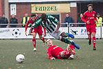04.11.2018, Hans-Prull-Stadion, Oldenburg, GER, RL Nord, VfL Oldenburg  vs VfB L&uuml;beck, DFL regulations prohibit any use of photographs as image sequences and/or quasi-video, im Bild<br /> Foul....<br /> Kebba Badjie (VfL Oldenburg #24 )<br /> Florian Riedel (VfB L&uuml;beck #39 )<br /> <br /> Foto &copy; nordphoto / Rojahn