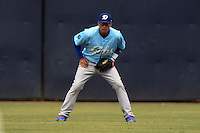 Daytona Cubs outfielder Albert Almora (6) in the field during a game against the Tampa Yankees  on April 13, 2014 at George M. Steinbrenner Field in Tampa, Florida.  Tampa defeated Daytona 7-3.  (Mike Janes/Four Seam Images)