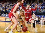 BROOKINGS, SD - FEBRUARY 22: Sydney Stapleton #35 of the South Dakota State Jackrabbits is pressured with the ball by Ciara Duffy #24 and Liv Korngable #2 of the South Dakota Coyotes Saturday at Frost Arena in Brookings, SD. (Photo by Dave Eggen/Inertia)