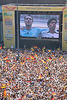 "Germany, DEU, Dortmund, 2006-Jun-24: FIFA football world cup (USA: soccer world cup) 2006 in Germany; thousands of football fans gathered at a public viewing zone on the ""Friedensplatz"" in front of the Dortmund town hall, watching the world cup match Germany vs. Sweden (2:0)."