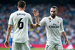 Real Madrid Nacho Fernandez and Dani Carvajal during La Liga match between Real Madrid and Getafe CF at Santiago Bernabeu in Madrid, Spain. August 19, 2018. (ALTERPHOTOS/Borja B.Hojas)