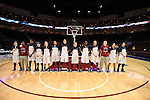 March 5, 2015; Las Vegas, NV, USA; Loyola Marymount Lions players stand for the national anthem against the Pepperdine Waves before the game of the WCC Basketball Championships at Orleans Arena.