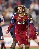 Real Salt Lake midfielder Kyle Beckerman (5) reacts to winning goal by teammate. Real Salt Lake defeated the New England Revolution, 2-1, at Gillette Stadium on October 2, 2010.