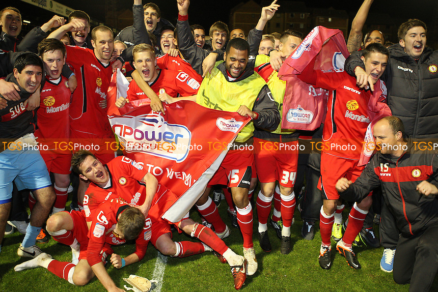 Crewe celebrate at the end of the game - Southend United vs Crewe Alexandra, League 2 Play-off semi-final 2n leg at Roots Hall, Southend - 16/05/12 - MANDATORY CREDIT: Rob Newell/TGSPHOTO - Self billing applies where appropriate - 0845 094 6026 - contact@tgsphoto.co.uk - NO UNPAID USE..