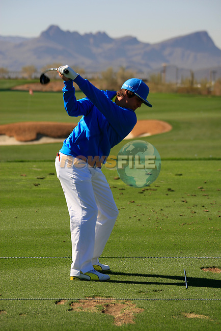 Rickie Fowler (USA) on the practice range before the action starts during Day 3 of the Accenture Match Play Championship from The Ritz-Carlton Golf Club, Dove Mountain, Friday 25th February 2011. (Photo Eoin Clarke/golffile.ie)