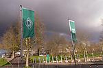 13.03.2020, Am wohninvest WESERSTADION,, Bremen, GER, 1.FBL, Werder Bremen Feature -, im Bild<br /> <br /> <br /> Feature Weserstadion - <br /> <br /> Fahnen wehen im Wind und Regenbogen<br /> <br /> Foto © nordphoto / Kokenge