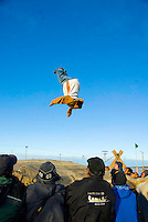 Pryce Levitt doing backflip on blanket toss, Nalukataq, Barrow, Alaska, 2008