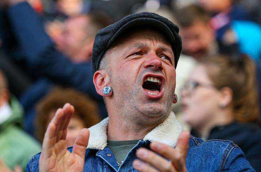 A Barnsley fan cheers his side on<br /> <br /> Photographer Alex Dodd/CameraSport<br /> <br /> The EFL Sky Bet League One - Barnsley v Blackpool - Saturday 27th April 2019 - Oakwell - Barnsley<br /> <br /> World Copyright © 2019 CameraSport. All rights reserved. 43 Linden Ave. Countesthorpe. Leicester. England. LE8 5PG - Tel: +44 (0) 116 277 4147 - admin@camerasport.com - www.camerasport.com