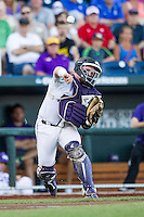 TCU Horned Frogs catcher Evan Skoug (9) makes a throw to first base during the NCAA College baseball World Series against the Vanderbilt Commodores on June 16, 2015 at TD Ameritrade Park in Omaha, Nebraska. Vanderbilt defeated TCU 1-0. (Andrew Woolley/Four Seam Images)