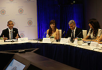 United States President Barack Obama (L) with US actor George Clooney (2ndR) and wife Amal Clooney (L) attend a Private Sector CEO Roundtable Summit for Refugees during the United Nations 71st session of the General Debate at the United Nations General Assembly at United Nations headquarters in New York, New York, USA, 20 September 2016. Photo Credit: Peter Foley/CNP/AdMedia