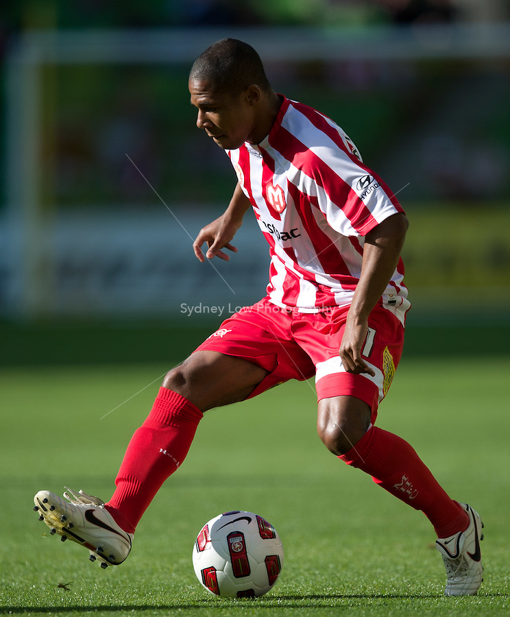 MELBOURNE, AUSTRALIA - January 2:  Alex Terra of the Heart controls the ball during the round 21 A-League match between Melbourne Heart and North Queensland Fury at AAMI Park on January 2, 2011 in Melbourne, Australia. (Photo by Sydney Low / Asterisk Images)