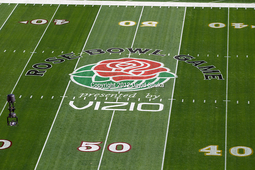 A general view of Rose Bowl 50 yard line before the Wisconsin Badgers 2012 Rose Bowl NCAA football game against the Oregon Ducks in Pasadena, California on January 2, 2012. The Ducks won 45-38. (Photo by David Stluka)
