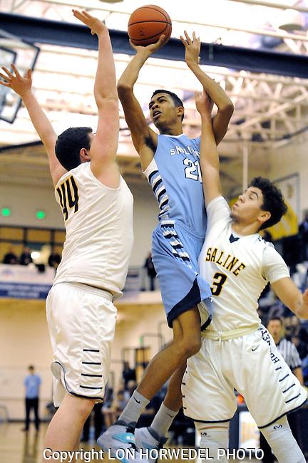 Skyline High School at Saline High School, boy's basketball, Friday, January 17, 2014.