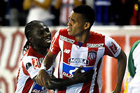 BARRANQUIILLA - COLOMBIA, 19-09-2017: Luis Diaz Marulanda del Atlético Junior de Colombia celebra después de anotar un gol a Cerro Porteño de Paraguay durante partido de vuelta por los octavos de final, llave 5, de la Copa CONMEBOL Sudamericana 2017  jugado en el estadio Metropolitano Roberto Meléndez de la ciudad de Barranquilla. / Luis Diaz Marulanda player of Atlético Junior of Colombia celebrates after scoring a goal to Cerro Porteño of Paraguay during second leg match for the eight finals, key 5, of the Copa CONMEBOL Sudamericana 2017played at Metropolitano Roberto Melendez stadium in Barranquilla city.  Photo: VizzorImage/ Alfonso Cervantes / Cont