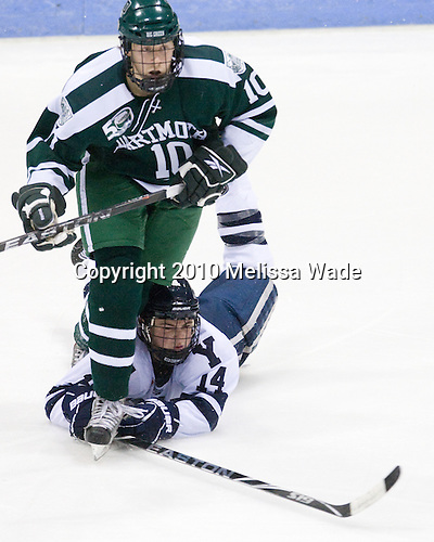 "Matt Reber (Dartmouth - 10), Broc Little (Yale - 14) - The Yale University Bulldogs defeated the visiting Dartmouth College Big Green 7-3 in the ""Ivy Shootout"" championship game on Saturday, October 30, 2010, at Ingalls Rink in New Haven, Connecticut."