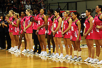 The World team line up before the match during the International  Netball Series match between the NZ Silver Ferns and World 7 at TSB Bank Arena, Wellington, New Zealand on Monday, 24 August 2009. Photo: Dave Lintott / lintottphoto.co.nz