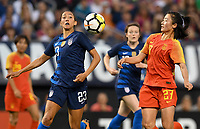 Cleveland, Ohio - Tuesday June 12, 2018: Christen Press, Yao Wei during an international friendly match between the women's national teams of the United States (USA) and China PR (CHN) at FirstEnergy Stadium.