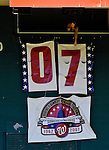 16 September 2007: The Washington Nationals count down the remaining number of baseball games to be played at RFK Stadium with a changing banner in the outfield at Robert F. Kennedy Memorial Stadium in Washington, DC. The Braves shut out the Nationals 3-0 to take the third game of their 3-game series.. .Mandatory Photo Credit: Ed Wolfstein Photo