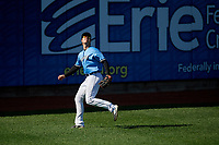 Erie SeaWolves outfielder Chad Sedio (27) catches a fly ball during an Eastern League game against the Akron RubberDucks on June 2, 2019 at UPMC Park in Erie, Pennsylvania.  Erie defeated Akron 8-5 in eleven innings in the second game of a doubleheader.  (Mike Janes/Four Seam Images)