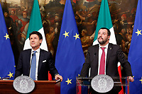 Giuseppe Conte and Matteo Salvini <br /> Rome January 17th 2019. Press conference of  the Italian premier and of the two vice premiers just after the Minister cabinet approved the reform of job (citizenship income) and board.<br /> Foto Samantha Zucchi Insidefoto