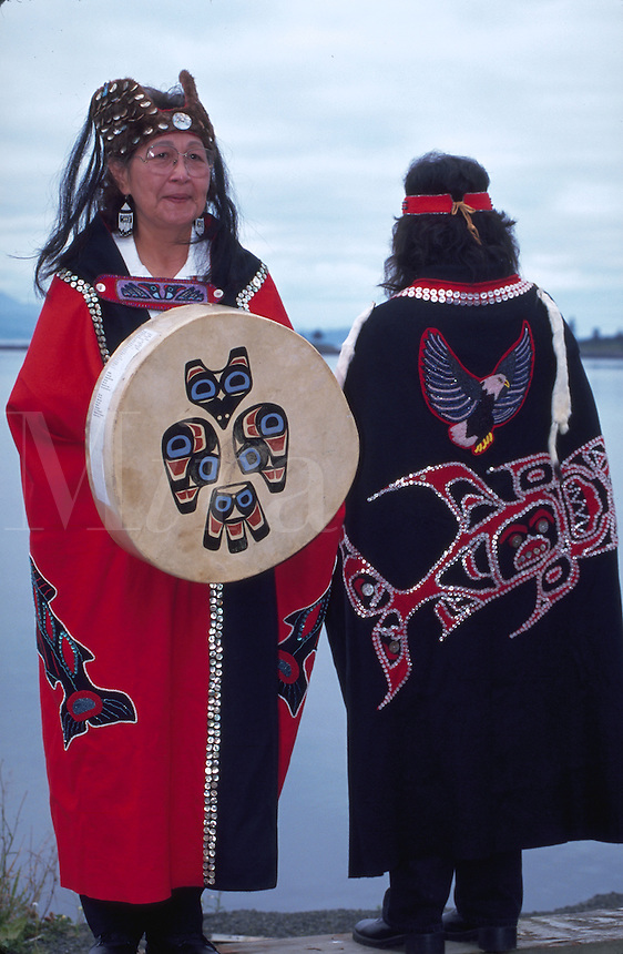 Tlingit women in traditional dress at Kake on Kupreanhof Island, Alaska, Inside Passage.