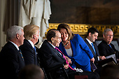 House Minority Leader Nancy Pelosi, a Democrat from California, greets former Senator Bob Dole, beside U.S. President Donald Trump and U.S. Vice President Mike Pence, during a congressional Gold Medal ceremony, at the U.S. Capitol, in Washington D.C., U.S., on Wednesday, Jan. 17, 2018. Photographer: Al Drago/Bloomberg<br /> Credit: Al Drago / Pool via CNP