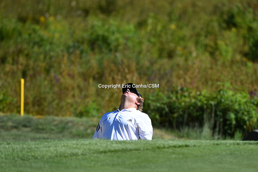 August 29, 2014 -  Norton, Mass. - William McGirt  reacts to his shot out of a sand trap on the 3rd hole during the first round of the PGA Deutsche Bank Championship held at the Tournament Players Club in Norton Massachusetts. Eric Canha/CSM