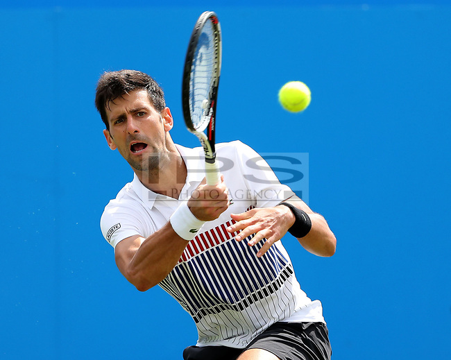 Novak DJOKOVIC (SRB) in action against Gael MONFILS (FRA) during the final day of the Aegon International played at Devonshire Park, Eastbourne on 1 July 2017