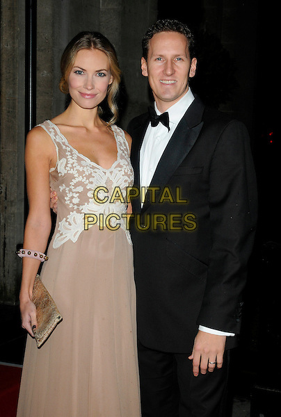 ZOE HOBBS & BRENDAN COLE .At the 20th Annual Drapers Awards, Grosvenor House, park Lane, .London, England, UK, .November 17th 2010..half length beige nude dress  cream lace patterned black tuxedo tux bow tie couple  married husband wife .CAP/CAN.©Can Nguyen/Capital Pictures.