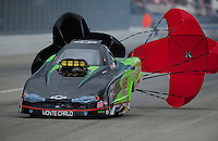 Feb. 11, 2012; Pomona, CA, USA; NHRA top alcohol funny car driver Doug Gordon during the Winternationals at Auto Club Raceway at Pomona.  Mandatory Credit: Mark J. Rebilas-