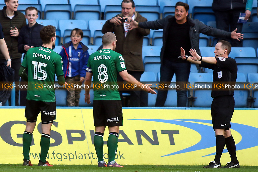 Referee Mr Robert Lewis, awards the third penalty to Gillingham within a nine minute spell late in the second half and Scunthorpe captain, Stephen Dawson was not happy during Gillingham vs Scunthorpe United, Sky Bet EFL League 1 Football at the MEMS Priestfield Stadium on 11th March 2017