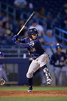 San Antonio Missions second baseman Luis Urias (3) at bat during a game against the Tulsa Drillers on June 1, 2017 at ONEOK Field in Tulsa, Oklahoma.  Tulsa defeated San Antonio 5-4 in eleven innings.  (Mike Janes/Four Seam Images)